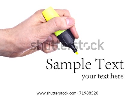 Hand with textmarker - completely isolated on white and much space for own text - stock photo
