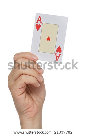 Hand with the ace of hearts on a over white background