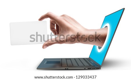 Hand with the empty card, come out from a screen of a laptop computer isolated on white background. High resolution