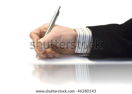 Hand with the handle paper lying on leaf on mirror reflexion - stock photo