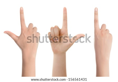 Hand with the index finger. Isolated on white  - stock photo