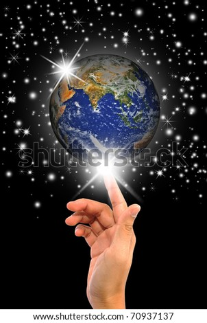 Hand with the world - stock photo