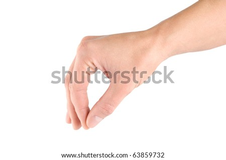 Hand with thumb and forefinger together simulating holding or picking something up, isolated on white background. - stock photo