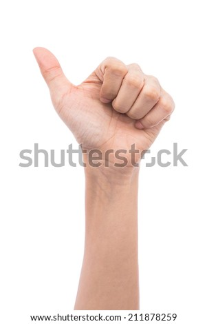 Hand with thumb up and LIKE sign on a white isolated background.