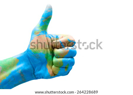 Hand with thumb up and painted with Africa - stock photo
