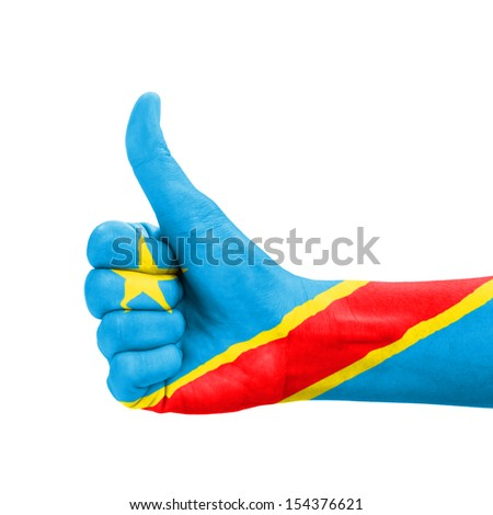 Hand with thumb up, Democratic Republic of Congo flag painted as symbol of excellence, achievement, good - isolated on white background - stock photo