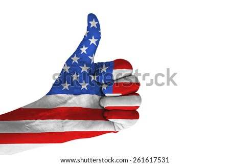 Hand with thumb up gesture in colored American national flag isolated on white background. - stock photo