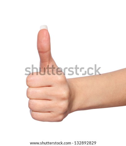 hand with thumb up in a white isolated background