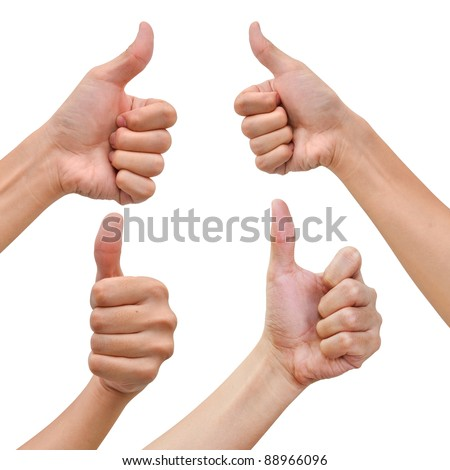 Hand with thumb up in various poses - stock photo