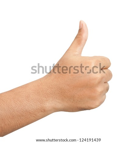 Hand with thumb up isolated on white background - stock photo