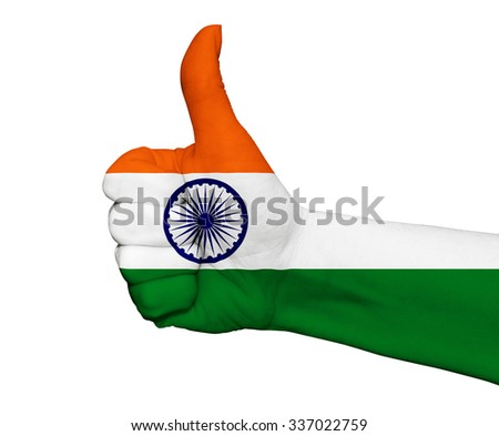 Hand with thumb up painted in colors of India flag isolated on white background