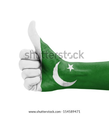 Hand with thumb up, Pakistan flag painted as symbol of excellence, achievement, good - isolated on white background - stock photo