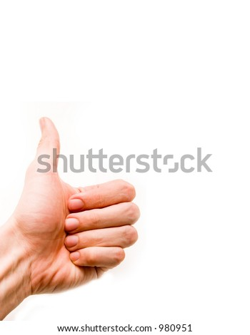 hand with thumb up, thumb up on white background, clipping path left - stock photo