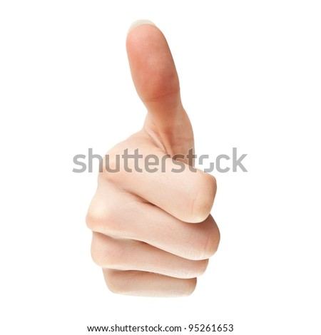 Hand with thumb up, view from the front. - stock photo