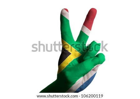 Hand with two finger up gesture in colored south africa national flag