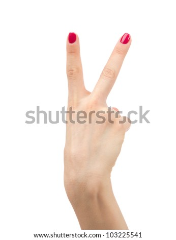Hand with two fingers up in the peace or victory symbol the sign for V letter in sign language isolated on white background