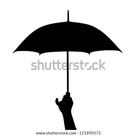 Hand with umbrella isolated on white background