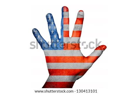 hand with USA flag - stock photo