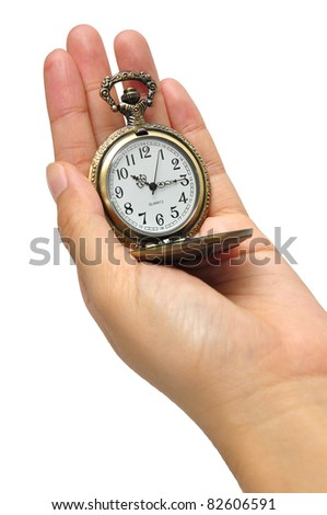 hand with vintage clock