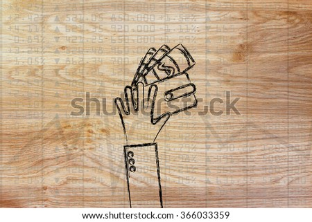 hand with wallet & cash on top of stock market stats - stock photo
