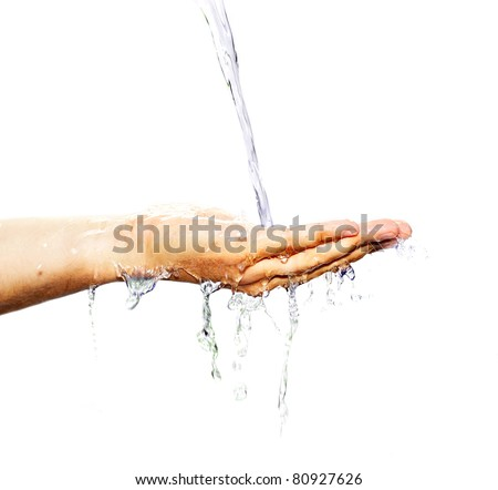 Hand with water isolated on white - stock photo