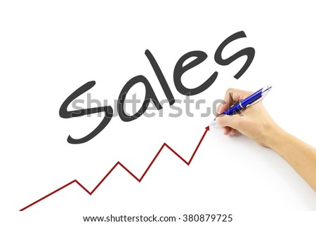 Hand with web chart online business diagram web. Image of hand drawing a growth, increase sales  graph. Growth Sales drawn on transparent whiteboard. Hand drawing graph of sales. Chart online business - stock photo