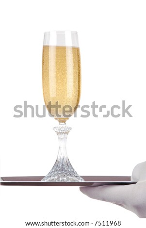 Hand with White Glove holding up a Silver Tray and Champagne Glass isolated over white - stock photo