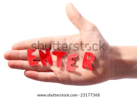 Hand with word Enter
