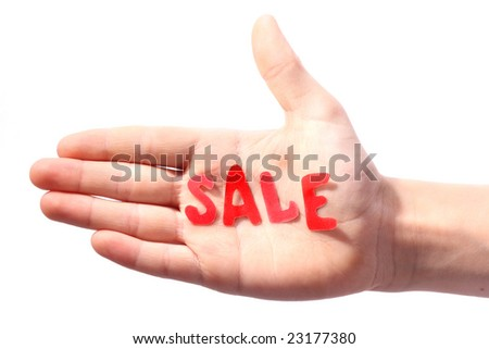 Hand with word Sale