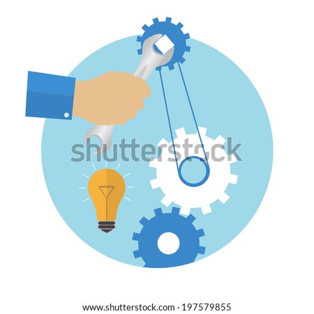 Hand with wrench. Repair icon in flat design. Raster version - stock photo
