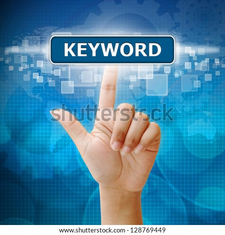 Hand woman press on touch screen keyword seo button - stock photo