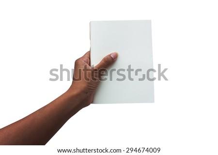 hand women holding white book isolate background - stock photo