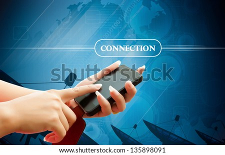hand women touch smart phone in hand on white background - stock photo