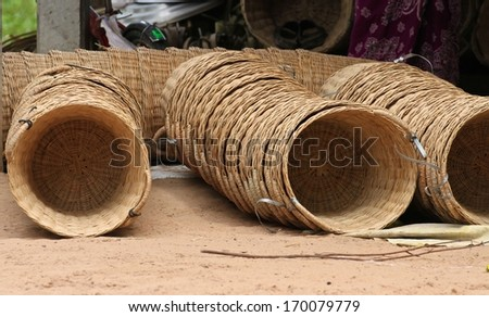 Hand woven baskets stacked together. - stock photo