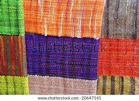 hand woven colorful fabric - stock photo