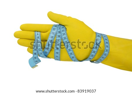 hand wrapped with measuring tape. isolated on white.