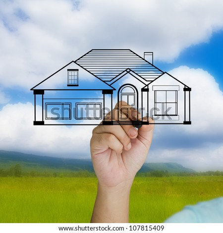 Hand write a house model on nature location background
