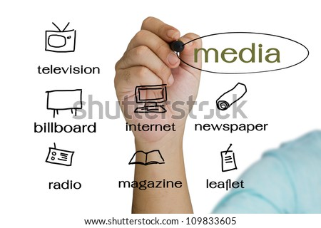 Hand write a media channel for business - stock photo
