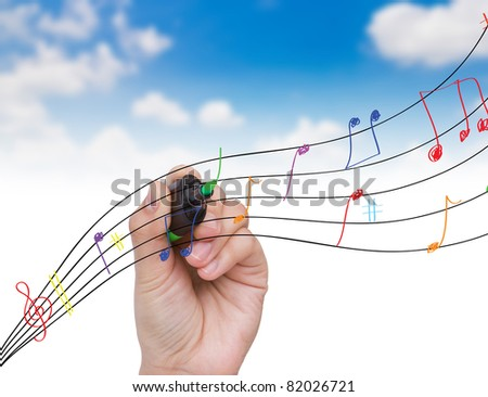 Hand write colorful note inthe sky - stock photo