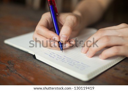 hand write in  the notepad, education - stock photo