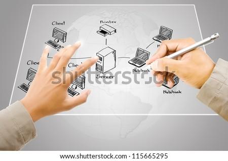 Hand write LAN Network diagram on the Touchscreen Interface. - stock photo