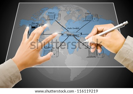 Hand write LAN Network diagram on the Touchscreen Interface. - stock photo