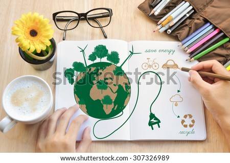 Hand write Notebook love earth concept. - stock photo