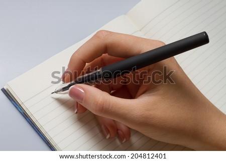 Hand Write On Bright Background - stock photo