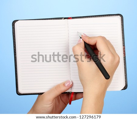 Hand write on notebook, on color background