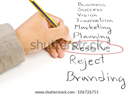 Hand write Resolve word on the whiteboard. - stock photo