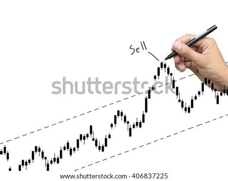 hand write stock graph - stock photo