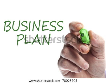 Hand write with green marker Business plan
