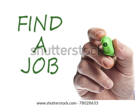 Hand write with green marker Find a job - stock photo