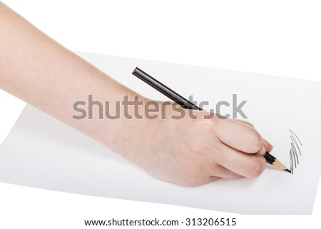 hand writes by black pencil on sheet of paper isolated on white background
